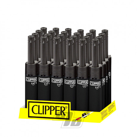 Clipper Mini Tube Soft Black Lighter on wholesale Tray of 24
