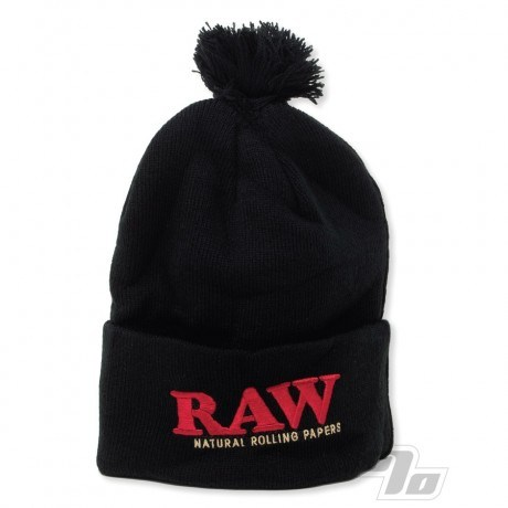 RAW Knitted Hat in Black Pompom
