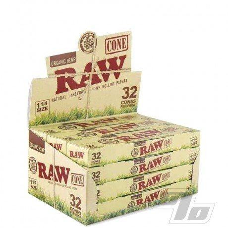 RAW Organic Hemp 1 1/4 Cones 32 Pack wholesale cones