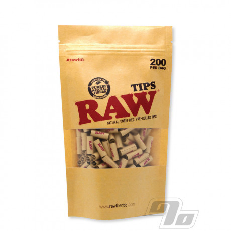 RAW Pre-Rolled Filter Tips Bag of 200