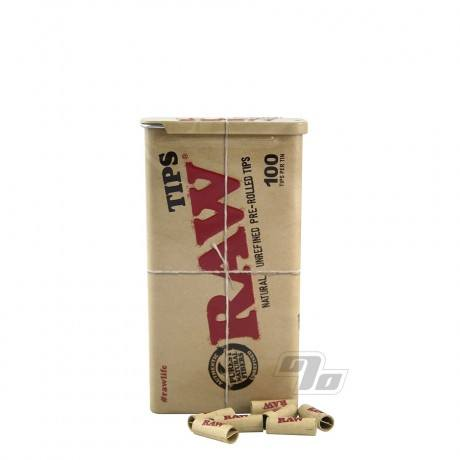 RAW Pre-Rolled Tips in RAW Slide Tin