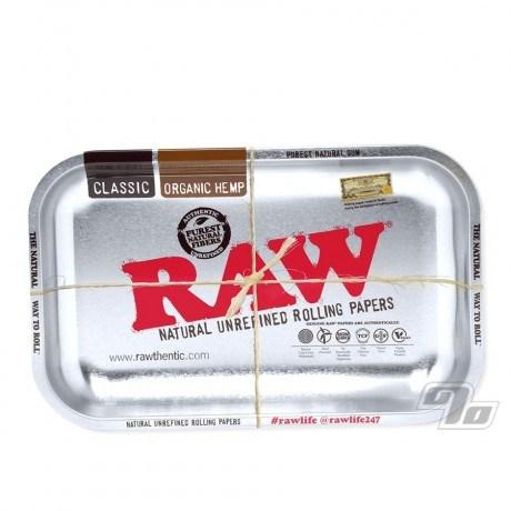 RAW Metallic Silver Rolling Tray in small