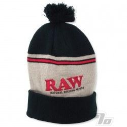 RAW Knit Hat Black/Brown Pompom