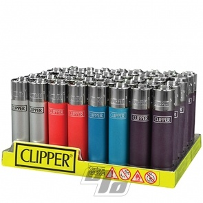 Clipper Lighters Metallic Solid Colors in a wholesale tray of 48 lighters