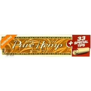 Pure Hemp Unbleached King Size Rolling Papers with filters in each pack