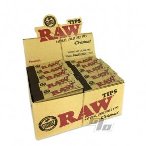 Unbleached Natural Filter Tips from RAW Rolling Papers box of 50 packs