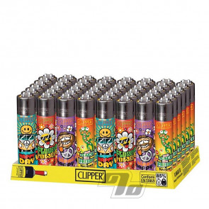 Wholesale tray of Clipper Lighters Hippie