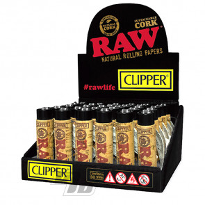 RAW Cork Clipper Lighters on wholesale Tray of 30 lighters