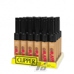 Clipper RAW Mini Tube Lighters on wholesale Tray of 24