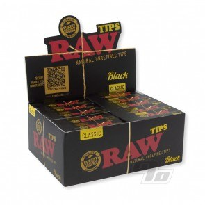 Full box of RAW Black Filter Tips from RAW Rolling Papers