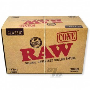 RAW Cones Natural 1 1/4 Bulk 1000 Cones Box
