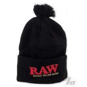 RAW Knit Hat Black Pompom