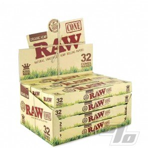 RAW Natural King Size Cones 32 Pack wholesale box of 12