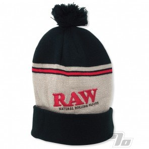 RAW Knitted Hat in Black and Brown Pompom