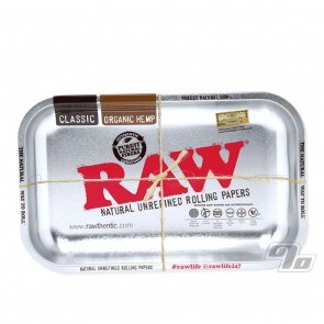 RAW Metallic Silver Rolling Tray in small